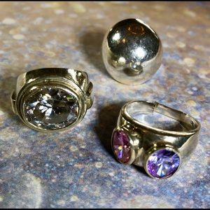 3 vintage 80's sterling silver cocktail rings